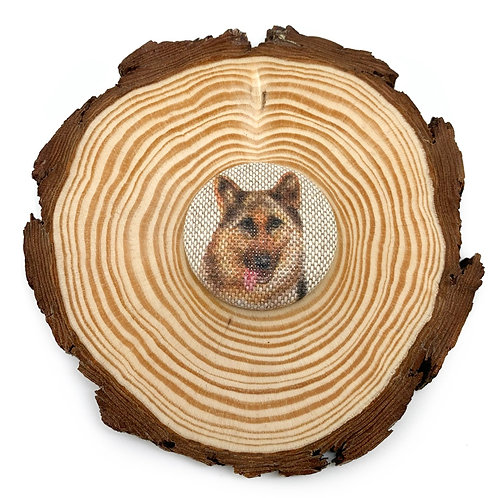 German Shepherd Large Fabric Button Brooch