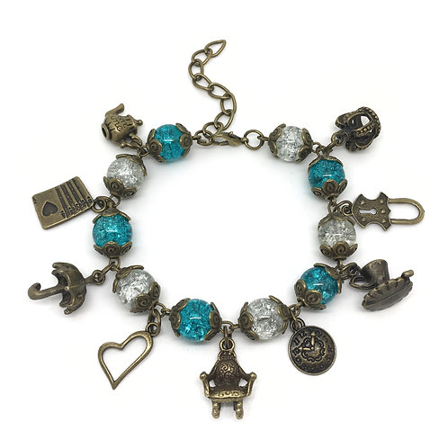 Vintage Style Alice In Wonderland Charm Bracelet
