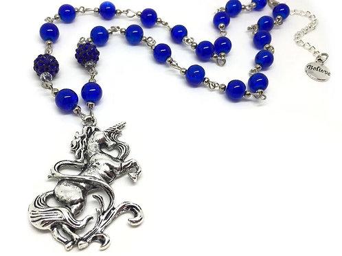 Blue Beaded 'Believe' Unicorn Necklace