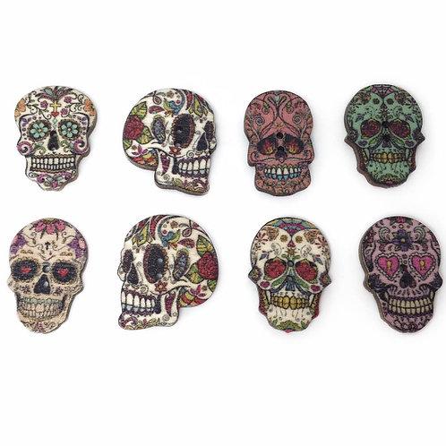 Mini Wooden Sugar Skull Button Brooches
