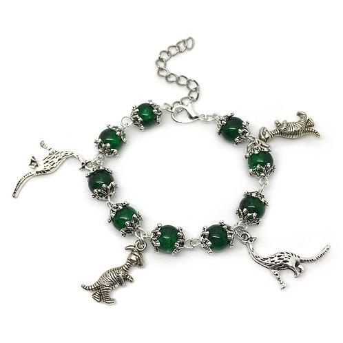 Children's Green Dinosaur Charm Bracelet