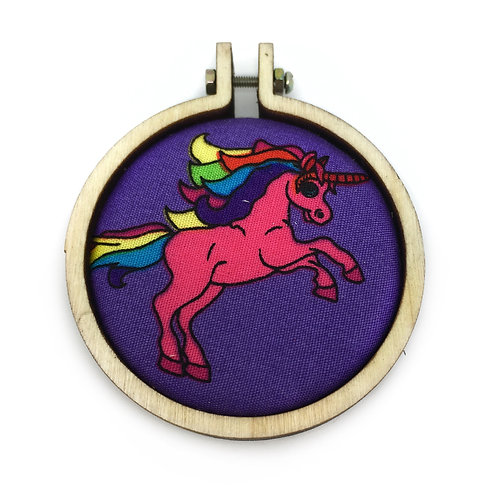 Rainbow Unicorn Fabric Hoop Necklace