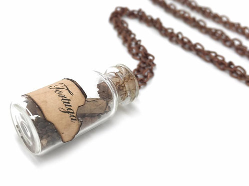 Tortuga Pirate Map in Bottle - Long Necklace