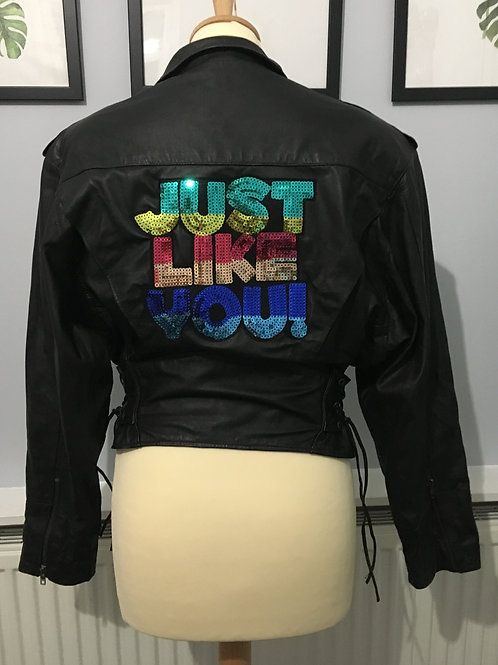 Vintage 80s Leather Look Sequin Patch Jacket UK 8