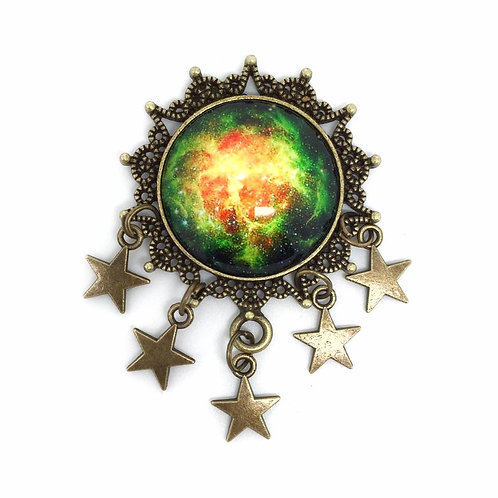 Bronze Galaxy Star Charm Brooch