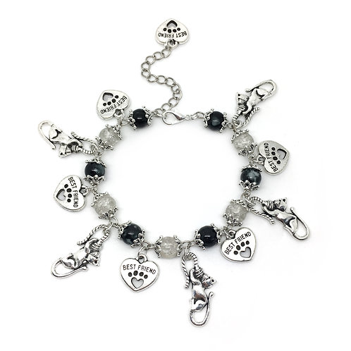 Black & White Bead Cat Charm Bracelet