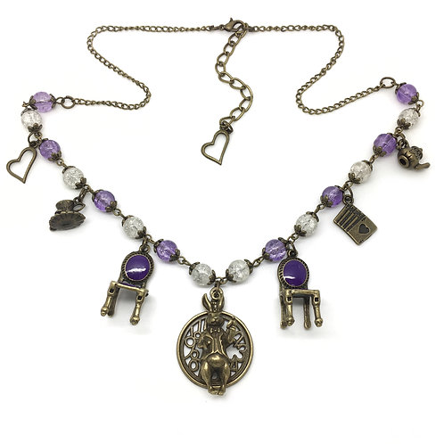Purple Alice In Wonderland Charm Necklace