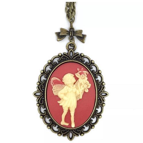 Fairy Garden Long Cameo Necklace