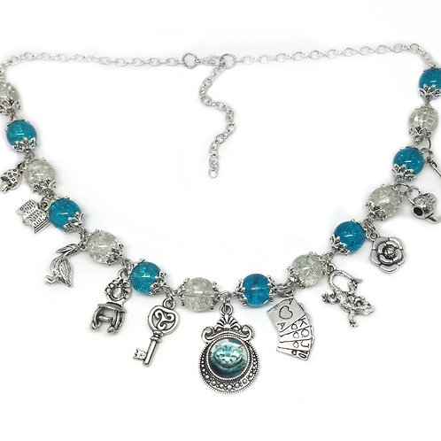 Blue & White Alice In Wonderland Charm Necklace