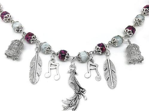 Phoenix Bird Cage Feather Charm Necklace