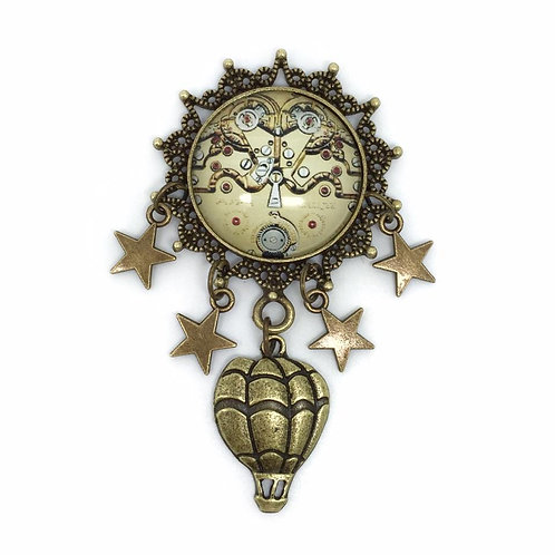 Steampunk Cogs Stars & Balloon Brooch
