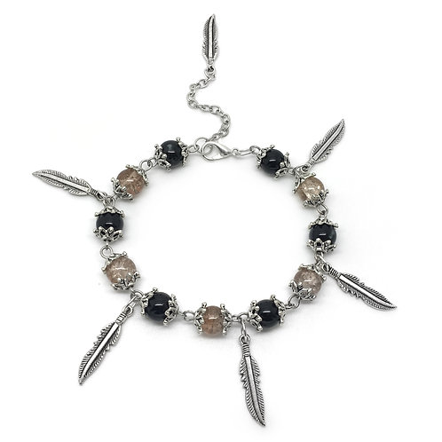 Black & Bronze Feather Charm Bracelet
