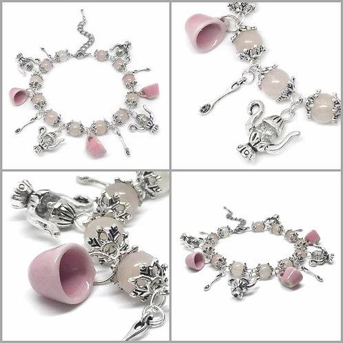 Pale Pink Mad Hatter's Tea Party Bracelet