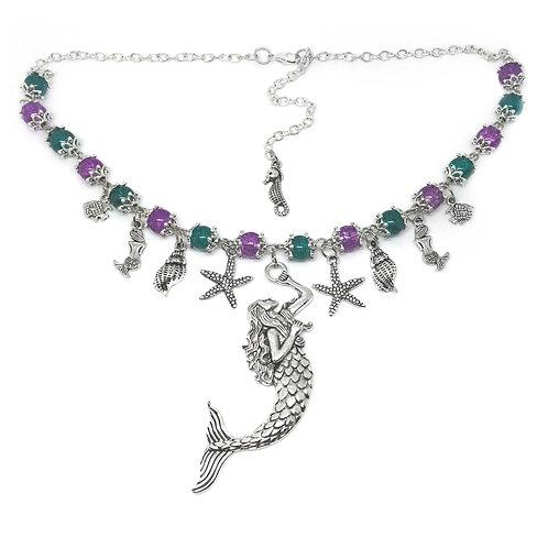 Purple & Teal Mermaid Charm Necklace