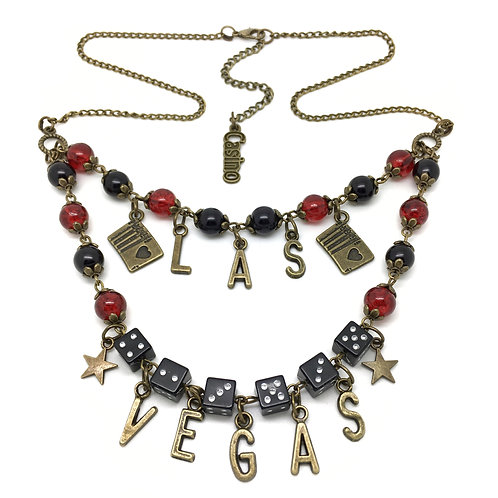 Double Row Las Vegas Casino Dice Necklace