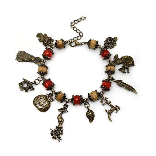 Autumn Wood Bead Charm Bracelet
