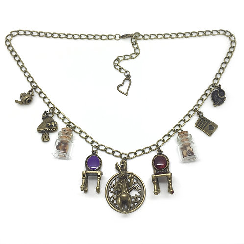 Alice in Wonderland Bronze Charm Necklace