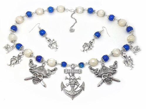 Blue & Pearly Pirate Anchor Necklace