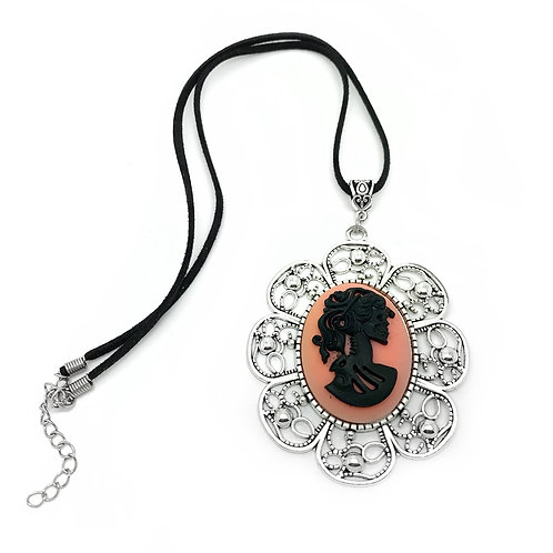 Large Peach Skull Cameo Necklace