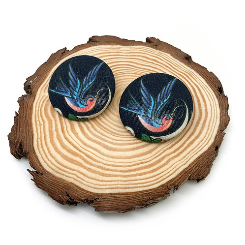 Rockabilly Swallow Large Fabric Button Earrings
