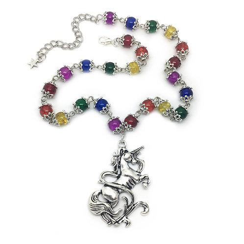 Rainbow Unicorn Beaded Necklace
