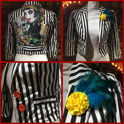 Striped Festival Skull Custom Jacket