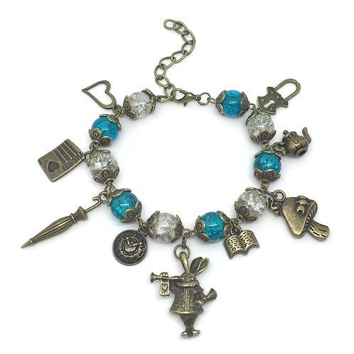Chunky Blue & White Alice Charm Bracelet