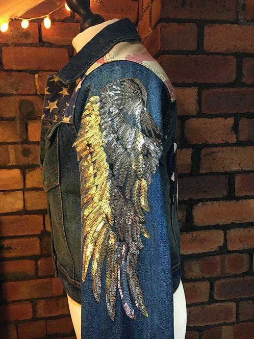 Stars & Stripes Eagle Wing Sequin Jacket UK 12