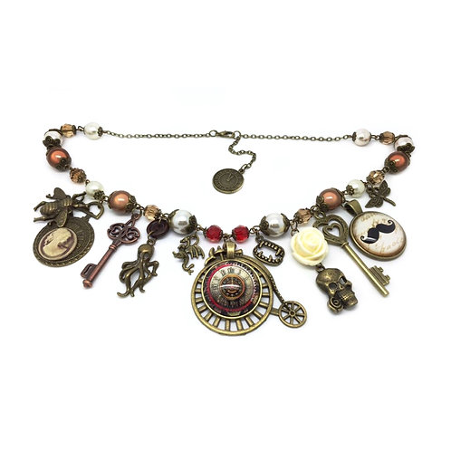 """Steampunk Horror Story"" Beaded Charm Necklace"