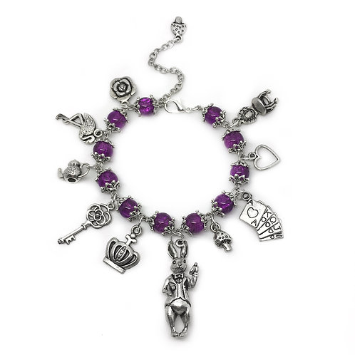Striking Purple White Rabbit Charm Bracelet