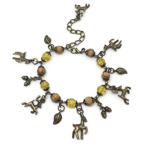 Autumn Colours Stag & Deer Charm Bracelet