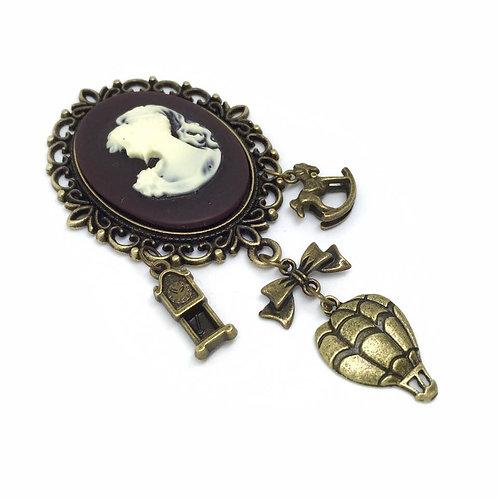 Steampunk Victorian Cameo Charm Brooch