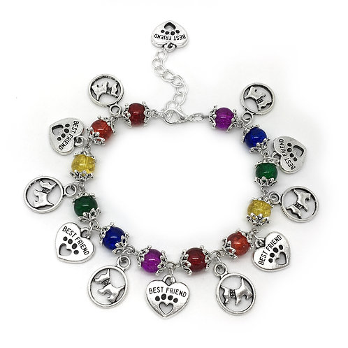 Rainbow Terrier Dog Charm Bracelet
