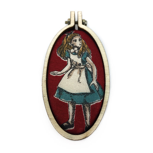 Alice In Wonderland Oval Fabric Necklace