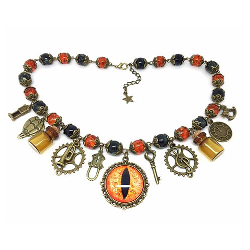 Vintage Steampunk Eye Beaded Charm Necklace