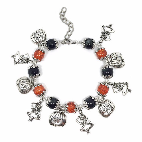 Halloween Beaded Charm Bracelet