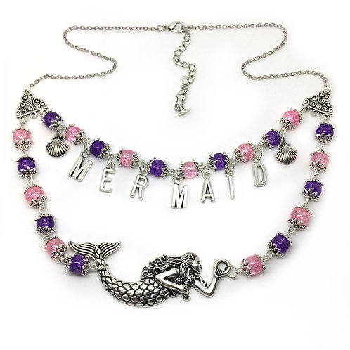 Pink & Purple Mermaid Necklace