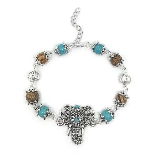 Boho Elephant Turquoise & Stone Bracelet