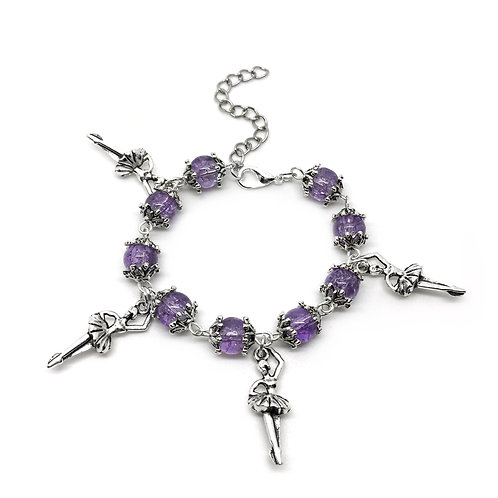 Children's Purple Ballerina Charm Bracelet