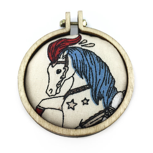 Vintage Circus Horse Fabric Necklace