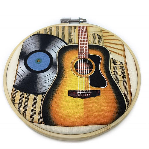 Guitar Music Fabric Wall Art Hoop
