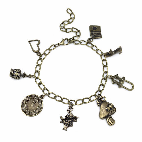 Bronze Alice in Wonderland Charm Bracelet