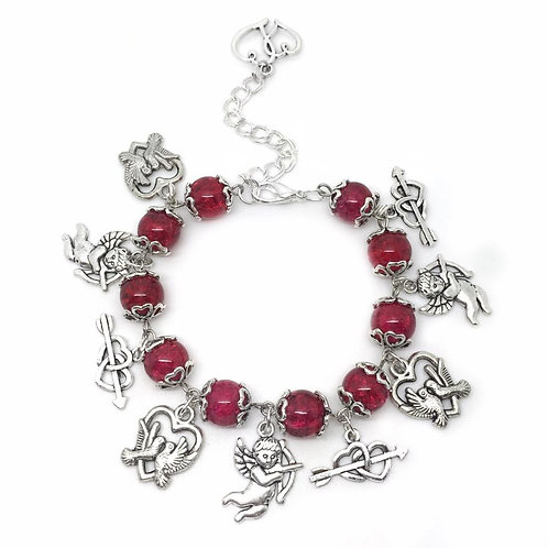 Cupid Love Heart Arrow Charm Bracelet