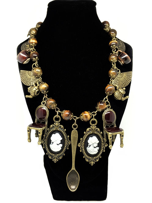 The Tea Duelling Ladies Steampunk Necklace