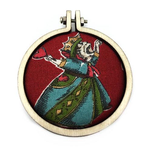 Queen Of Hearts Fabric Hoop Necklace