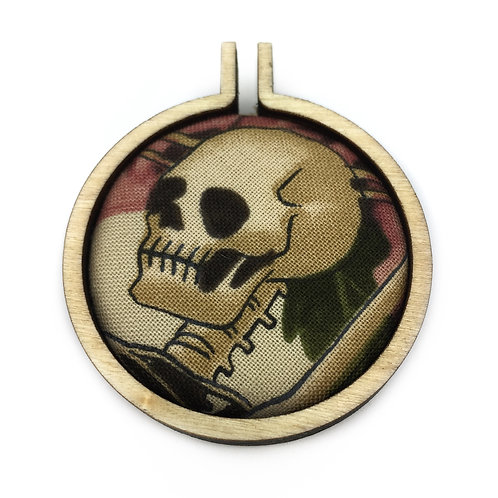Alexander Henry Skeleton Fabric Hoop Necklace