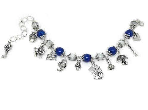 Alice In Wonderland Blue Beaded Charm Bracelet