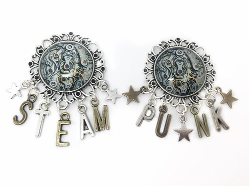 Pair of Steampunk Cog & Star Brooches