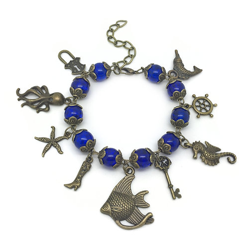 Blue Bead Pirate Charm Bracelet