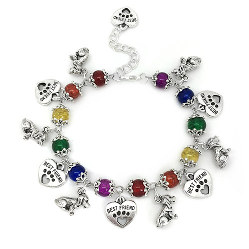 Rainbow Bead Dog Charm Bracelet